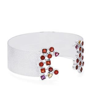 7.10ct Kaleidoscope Gemstones Sterling Silver Bangle
