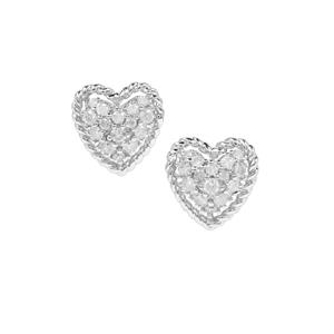 Diamond Heart Earrings in Sterling Silver 0.52ct
