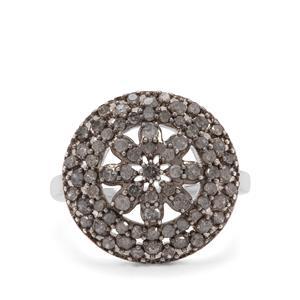1ct Salt & Pepper Diamond Sterling Silver Ring