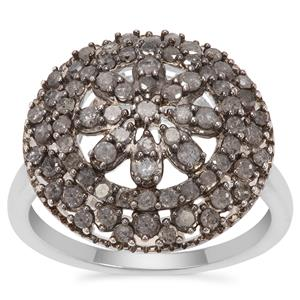 Grey Diamond Ring in Sterling Silver 1cts