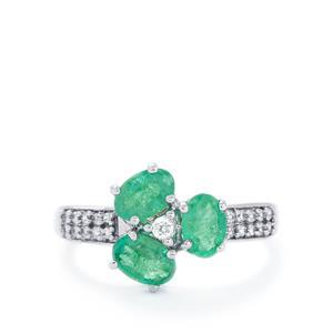 Zambian Emerald & White Zircon 10K White Gold Ring ATGW 1.46cts