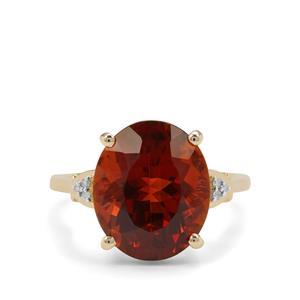 Madeira Citrine & Diamond 9K Gold Ring ATGW 6.64cts