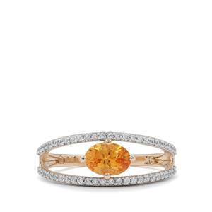 Mandarin Garnet Ring with White Zircon in 9K Gold 1.30cts