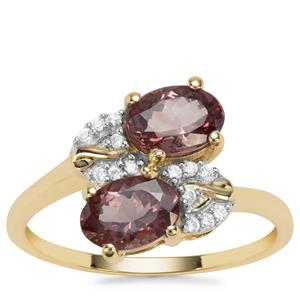 Miova Loko Garnet Ring with White Zircon in 9K Gold 1.90cts