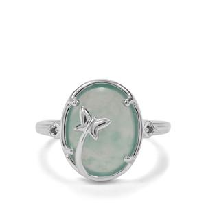 Gem-Jelly Aquaprase™ & Blue Diamond Sterling Silver Ring ATGW 4.66cts