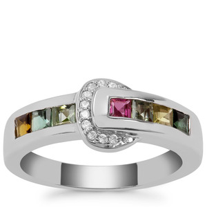 Rainbow Tourmaline Ring with White Zircon in Sterling Silver 0.84cts