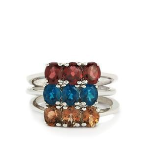 Gouveia Andalusite, Rhodolite Garnet & Neon Apatite Sterling Silver Set of 3 Ring ATGW 3.32cts