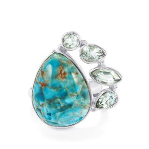 Fort-Dauphin Apatite & Sky Blue Topaz Sterling Silver Aryonna Ring ATGW 19cts