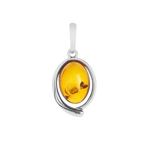 Baltic Cognac Amber Pendant  in Sterling Silver (14x10mm)