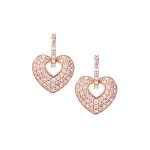 Pink Diamond Heart Earrings in 9K Rose Gold 1.53cts