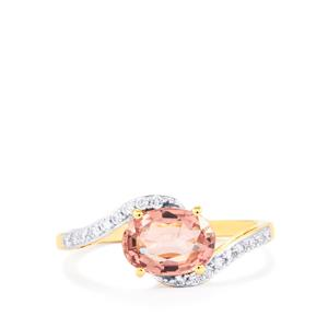 Padparadscha Sapphire Ring with Diamond in 18K Gold 2.03cts