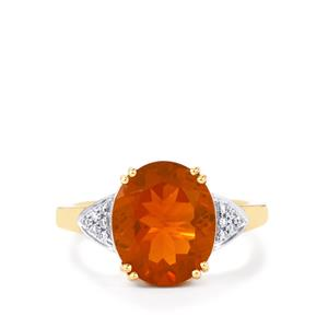 AAA Orange American Fire Opal Ring with Diamond in 18K Gold 3.45cts