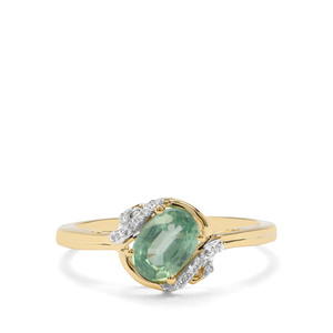 Odisha Kyanite & Diamond 9K Gold Ring ATGW 1.02cts