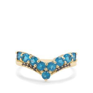 Neon Apatite & Ceylon Blue Sapphire 9K Gold Ring ATGW 1.16cts
