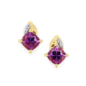 Moroccan Amethyst Earrings with Diamond in 10k Gold 1.83cts
