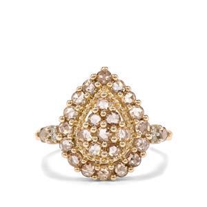 1.05ct Champagne & White Diamond 9K Gold Tomas Rae Ring