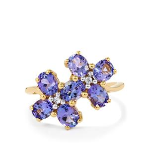 AA Tanzanite Ring with White Zircon in 10k Gold 2.58cts