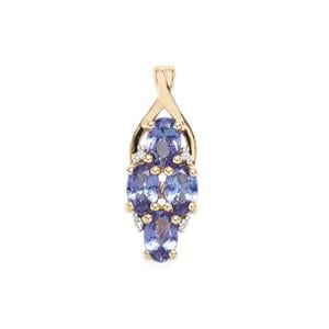 AA Tanzanite Pendant with White Zircon in 9K Gold 1.86cts
