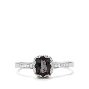 Mogok Silver Spinel & White Zircon Sterling Silver Ring ATGW 1.12cts