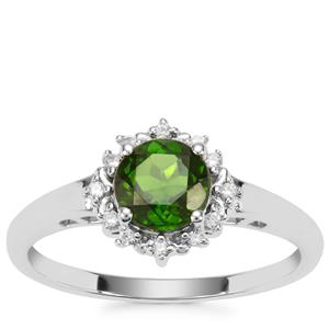 Chrome Diopside Ring with White Zircon in Sterling Silver 1.05cts