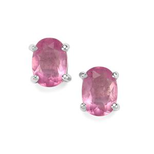 2ct Natural Pink Fluorite Sterling Silver Earrings