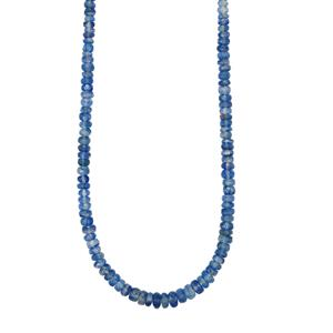 73ct Daha Kyanite Sterling Silver Graduated Bead Necklace