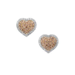 1ct Champagne & White Diamond 9K Gold Heart Earrings