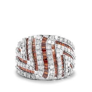 1.95ct Red & White Diamond 9K Gold Tomas Rae Ring