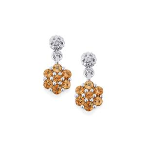 Gouveia Andalusite Earrings with Diamond in Sterling Silver 0.89cts