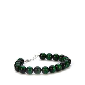 131.30ct Green Tiger's Eye Sterling Silver Bracelet