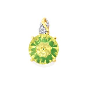 Lehrer KaleidosCut Green Gold Quartz, Zambian Emerald & Diamond 10K Gold Pendant ATGW 4.75cts