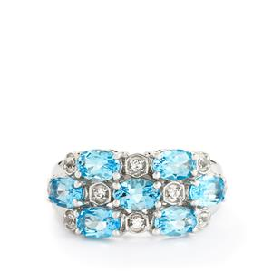 3.82ct Swiss Blue & White Topaz Sterling Silver Ring