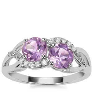 Moroccan Amethyst Ring with White Zircon in Sterling Silver 1.63cts