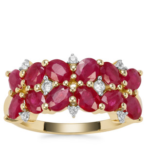 Burmese Ruby Ring with White Zircon in 9K Gold 2.95cts