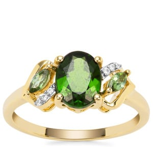Chrome Diopside, ParaibaTourmaline Ring with White Zircon in 9K Gold 1.39cts