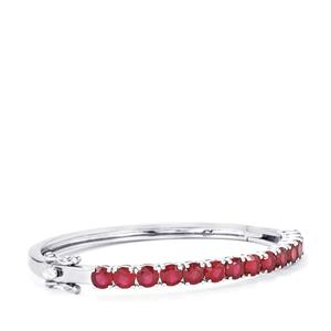 12.04ct Malagasy Ruby Sterling Silver Oval Bangle (F)
