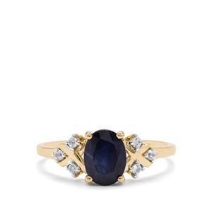 Kanchanaburi Sapphire & White Zircon 9K Gold Ring ATGW 1.59cts