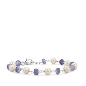 Tanzanite & Kaori Cultured Pearl Sterling Silver Bead Bracelet