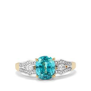 Ratanakiri Blue Zircon Ring with Diamond in 18k Gold 3.73cts