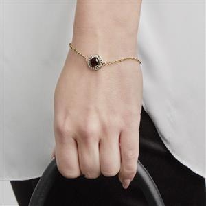 Garnet & White Topaz Bracelet in Gold Vermeil ATGW 1.89cts