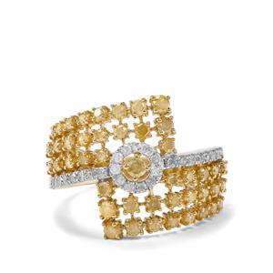 1ct Yellow & White Diamond 9K Gold Tomas Rae Ring