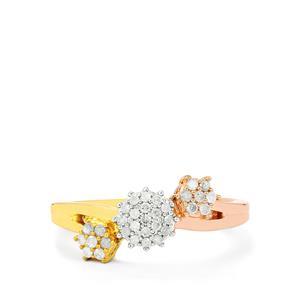 1/4ct Diamond Three Tone Midas Ring