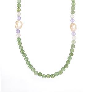 Baroque Cultured Pearl, Green Aventurine, Purple Quartz & Optic Quartz Elasticated Necklace
