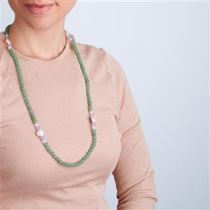 Baroque Cultured Pearl, Green Aventurine, Purple Quartz, Elasticated Necklace with Optic Quartz