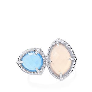 6.05ct Pink & Blue Chalcedony Sterling Silver Ring