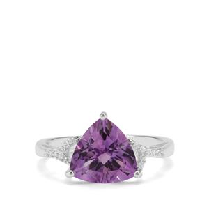 Moroccan Amethyst & White Zircon Sterling Silver Ring ATGW 2.99cts