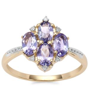 AA Tanzanite Ring with Diamond in 9K Gold 1.37cts