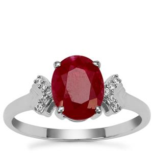 Burmese Ruby Ring with White Zircon in 9K White Gold 2.40cts
