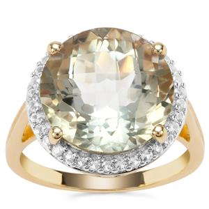 Prasiolite Ring with White Topaz in Gold Plated Sterling Silver 9.98cts