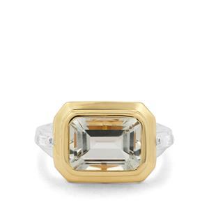 Prasiolite & White Zircon Two Tone Sterling Silver Ring ATGW 3.76cts